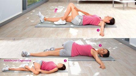 Unterkörperdrehen: Übung zur Dehnung der unteren und seitlichen Rücken- sowie der Gesäßmuskulatur